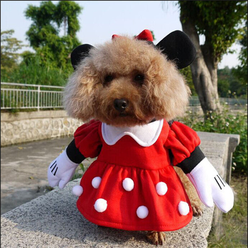 Fancy Minnie Mouse Dress Jumpsuit Costume for Dogs