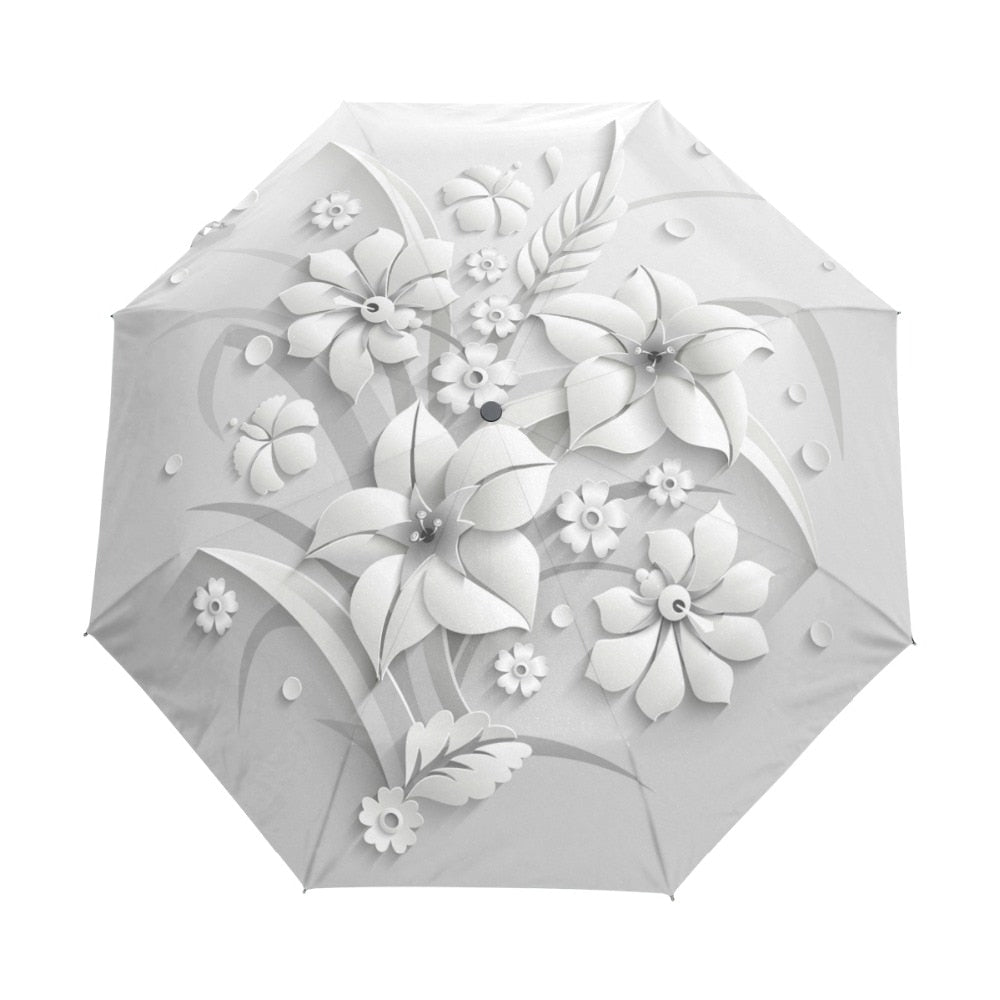 3D White Floral Flower Full Automatic 3 Folding Umbrella