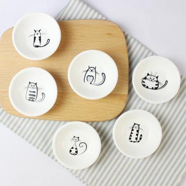 6 Pcs Cute Cat Mini Ceramics Plate Dishes