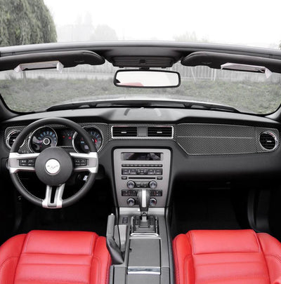 2010-2014 Mustang Carbon Fiber Full Dashboard Overlay(6-Piece)