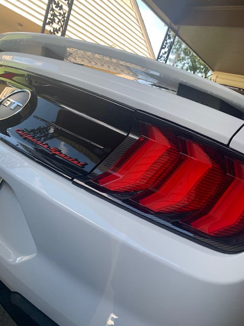 18+ Mustang Taillight Carbon style overlay