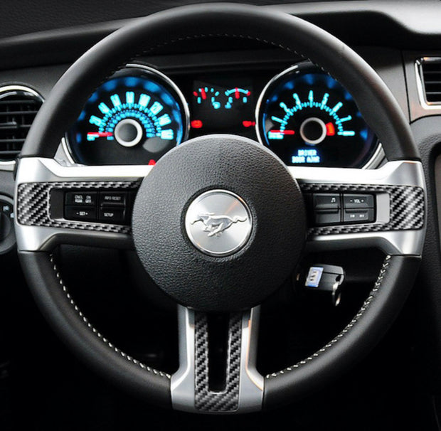 2010-2014 Mustang Carbon Fiber Steering Wheel Trim