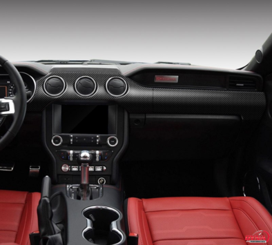 2015-2020 Mustang Carbon Fiber 5 Piece Non-Performance Dash Trim Overlay