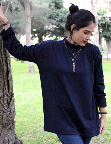 Chompa oversized larga - azul