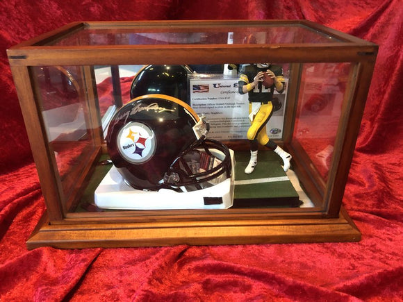 Terry Bradshaw Steelers Certified Authentic Autographed Mini-helmet Shadowbox