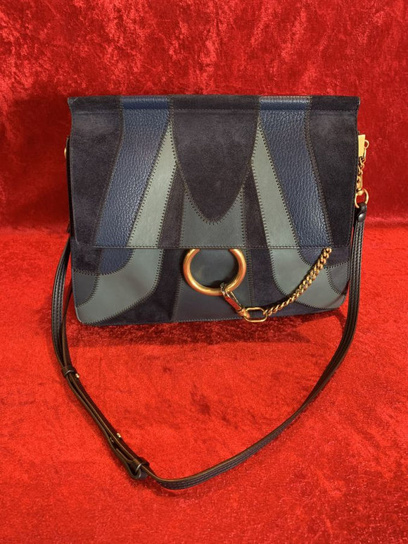 Chloe Blue Leather and Suede Handbag
