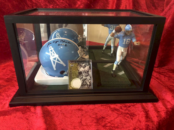 George Blanda Oilers Certified Authentic Autographed Mini Helmet Shadowbox