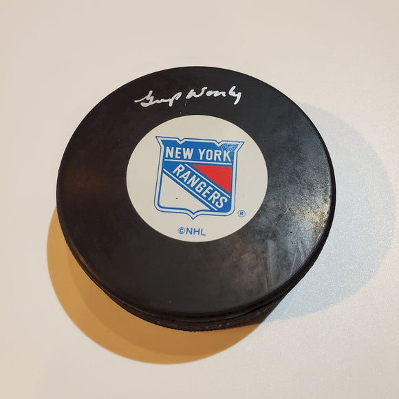 Gump Worsley Guaranteed Authentic Autographed Hockey Puck