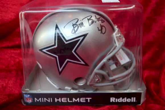 Bill Bates Cowboys Autographed Certified Authentic Football Mini Helmet