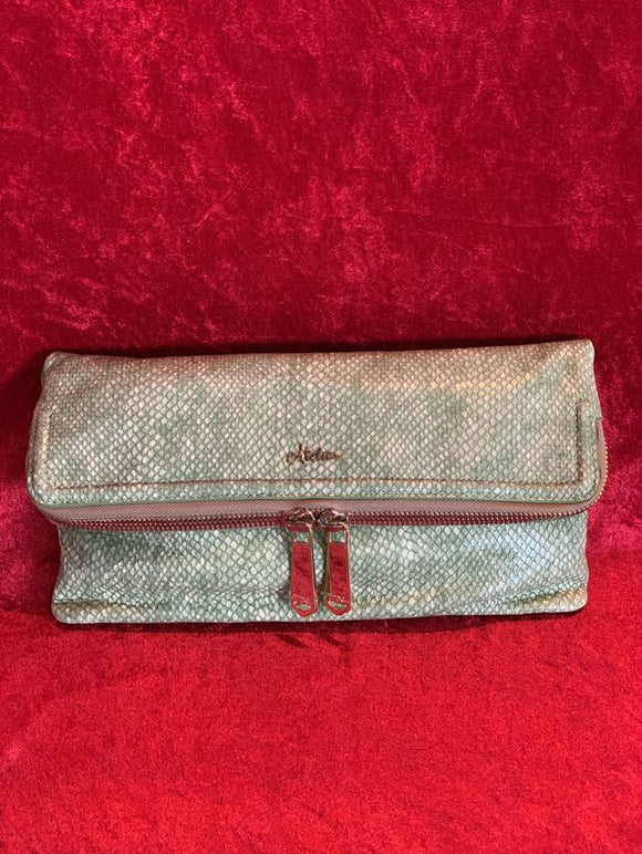 Brahmin Atelier Hingham Green Leather Clutch Handbag