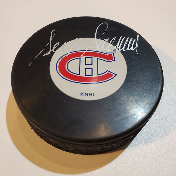 Serge Savard Certified Authentic Autographed Hockey Puck
