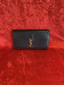 YSL Black Leather Continental Wallet