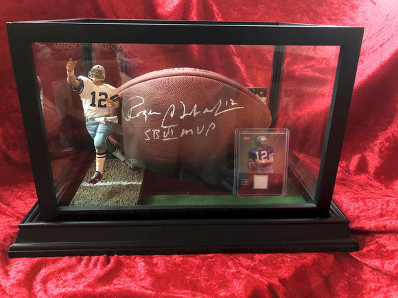 Roger Staubach Cowboys Certified Authentic Autographed Football Shadowbox