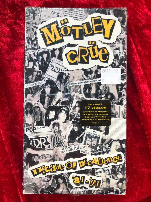 Motley Crue Decade of Decadence VHS Tape