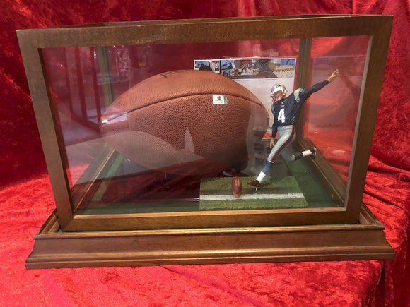 Adam Vinaterri Patriots Certified Authentic Autographed Football Shadowbox