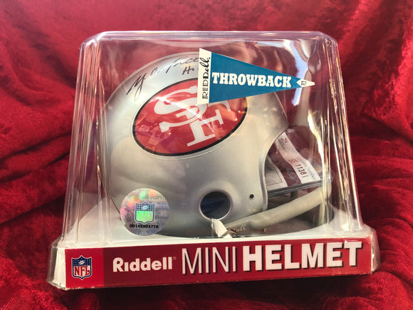 Y.A. Tittle 49ers Certified Authentic Autographed Football Mini Helmet