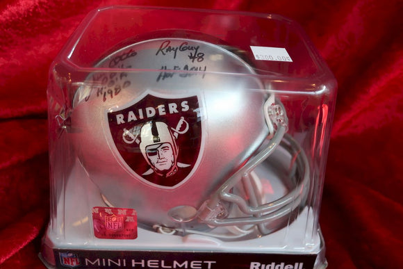 Ray Guy Raiders Autographed x3 Certified Authentic Football Mini Helmet