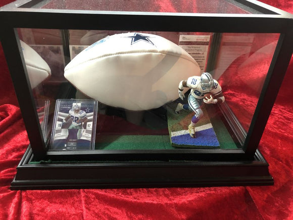 Emmitt Smith Cowboys Certified Authentic Autographed Football Shadowbox