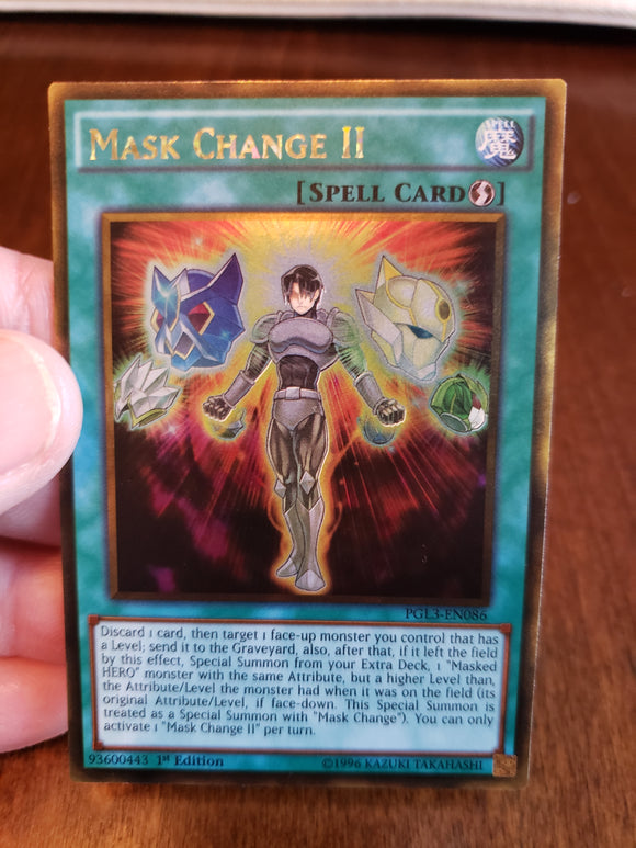 Mask Change II PGL3-EN086 Gold Rare 1st Edition Yugioh Card