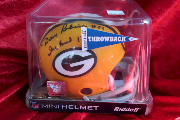 David Robinson Packers Autographed Certified Authentic Football Mini Helmet