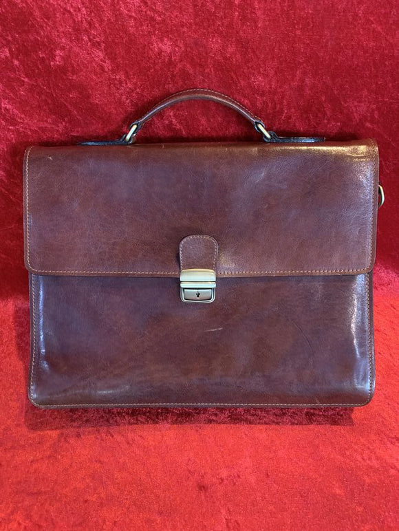 Old Angler Brown Leather Briefcase
