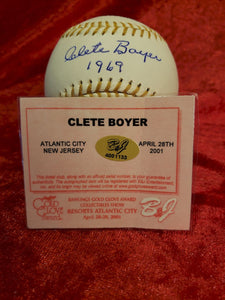 Clete Boyer Certified Authentic Autographed Baseball