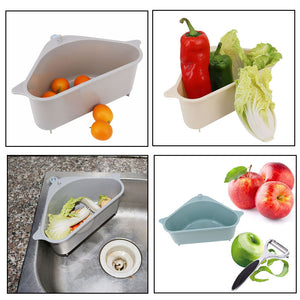 Innovative Kitchen Triangular Sink Strainer Drain Vegetable Fruit Drainer Basket Suction Cup Sponge Rack Storage Tool Sink Filter Shelf