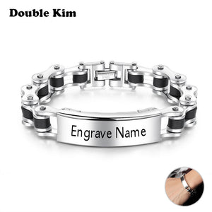 Clever Men's Gift Customized Locomotive Chain Bracelet Titanium Stainless Steel DIY Engrave Name Word Bracelet Fashion Jewelry Gift