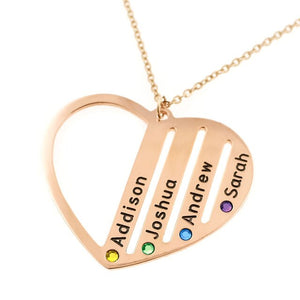 Custom Heart Necklace Personalized Birthstones Necklace Engraved Names Birthstone Jewelry Gift For Mom Gift For Grandma