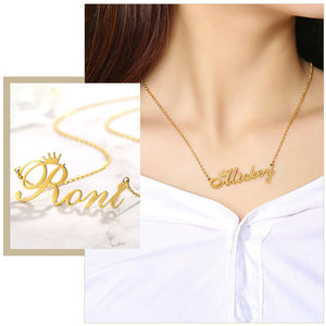 Personalized Custom Name Necklace Gift Women  Golden Solid Stainless Steel Necklaces Pendant Jewelry