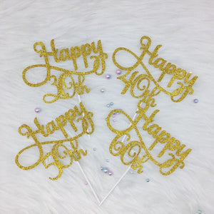 Personalised Age Birthday Cake Topper 30th, 40th, 50th, 60th Age Happy Birthday Advanced Glitter Toppers Gold/Silver/Black