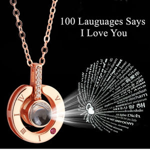 Gift for girlfriend 100 Languages Says I love You Projection Necklace romantic love gift Valentines day present