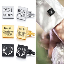 Load image into Gallery viewer, ENGRAVED WEDDING CUFFLINKS WEDDING GIFT SQUARE INITIAL CUFFLINK FOR GENTS CUSTOM CUFFLINKS GIFTS