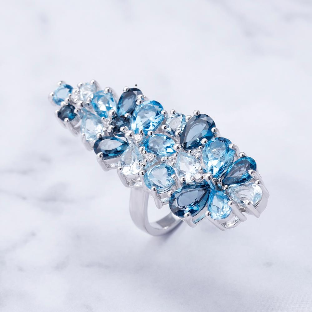 Brand Hot Fashion Natural London Blue Topaz Gemstone Rings Genuine 925 Sterling Silver Ring For Women Fine Jewelry