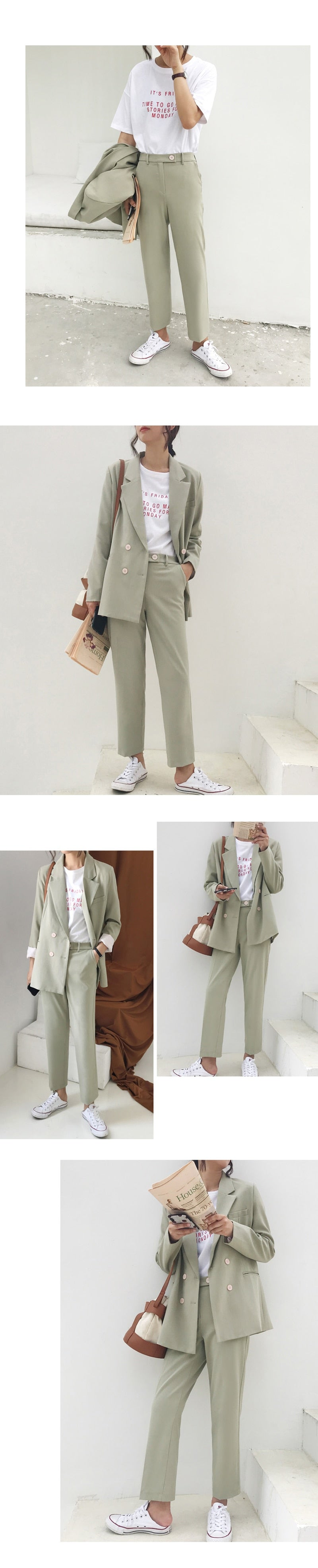 Vintage Autumn Winter Thicken Women Pant Suit Light Green Notched Blazer Jacket & Pant 2020 Office Wear Women Suits Female Sets