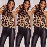 Women Blouses Sexy Leopard Print Ladies Shirts And Tops Halter Blouse Sexy Sleeveless Tops Womens Clothing Summer Female Blouses