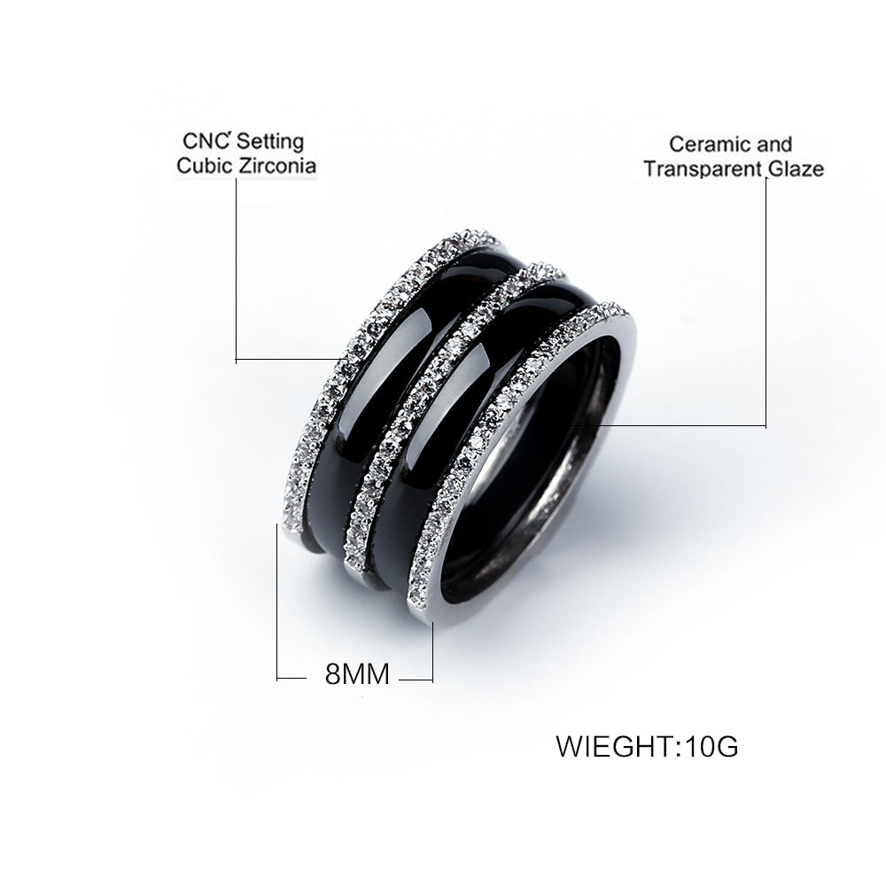 8MM Width Stainless Steel Women Men Rings Jewelry Three Row Rhinestone Bright Black White Ceramic Rings Never Fade Jewelry Gift