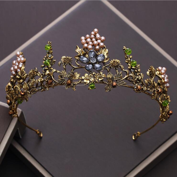 Baroque Vintage Gold Crystal Flowers Beads Tiaras Rhinestone Queen Crowns Wedding Hair Accessories Luxury Headband Diadem