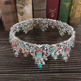 Baroque Royal Queen Crown Colorful Jelly Crystal Rhinestone Stone Wedding Tiara for Women Costume Bridal Hair Accessories