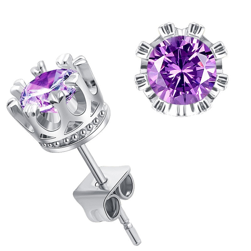 New Stainless Steel Acrylic Crystal Stud Earrings for Women Men Jewelry Vintage Roman Numerals Small Earring 2020