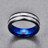 8MM electroplating black tungsten carbide ring blue Dome double groove inlaid iridium tungsten ring T086R for men's gift