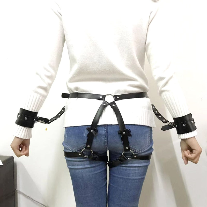 2019 New sexy women Adjustable Leather Bowknot belts Body Bondage Cage Punk Sculpting Harness Waist Belt Straps Belt Accessories