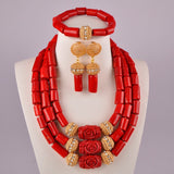 Real Coral Necklace Set White Coral Jewelry Sets for Women Nigeria Coral Beads African Jewelry Set