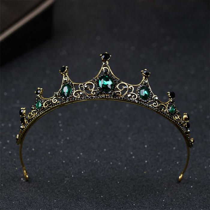 Vintage Baroque Imitated Emerald Crystal Tiaras and Crowns Hair Jewelry Women Girls Headpiece Wedding Bridal Hair Accessories