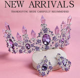 2020 New Arrival Charming Purple Crystal Bridal Tiara Crowns Magnificent Rhinestone Diadem for Princess Wedding Hair Accessories