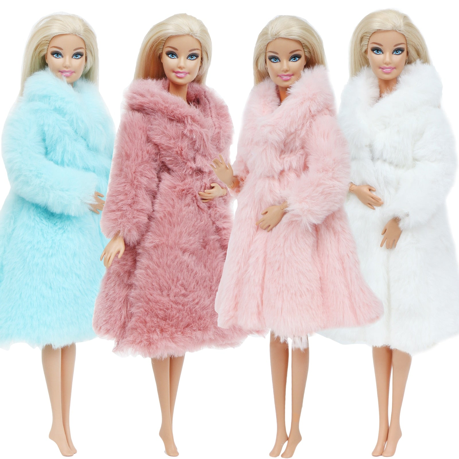 Multicolor 1 Set  Long Sleeve Soft Fur Coat Tops Dress Winter Warm Casual Wear Accessories Clothes for Barbie Doll Kids Toy