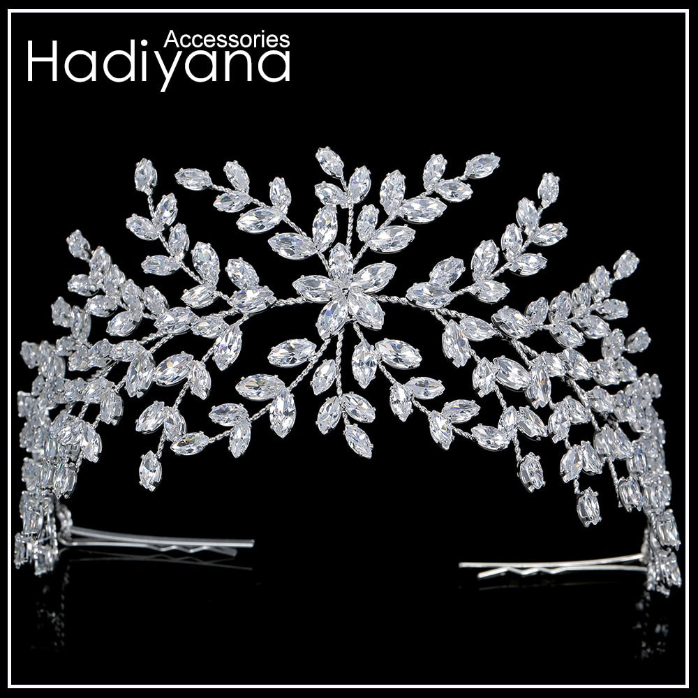 Fashion Bride Crown Wedding Tiaras With Zircon Women Hair Accessories Jewelry Headpiece Soft Luxury Barrettes BC4702