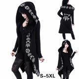 Gothic Punk Print Hoodies Sweatshirts Women Long Sleeve  Jacket Zipper Coat Autumn Winter Female Casual Hoodie Oversized Hood