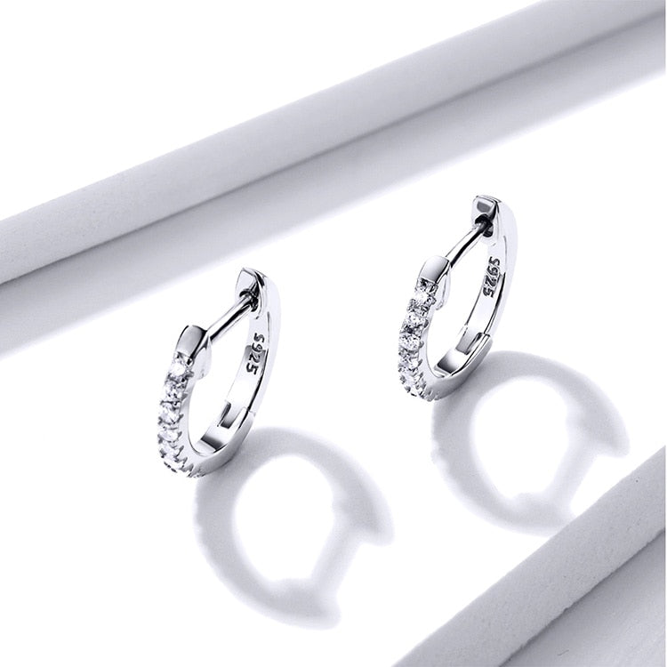925 Sterling Silver Classic Round Silver Hoop Earrings Authentic Clear Zircon Earrings For Women Fashion Jewelry CQE498