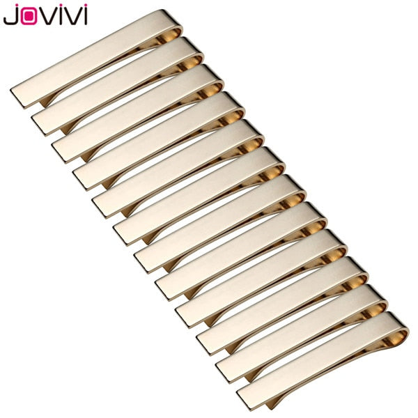 "Jovivi Mens Stainless Steel Tie Bar Pinch Clip for Skinny 1.6""/Regular Ties 2.1"" Business Casual Shirt Tie Clips Valentines Gift"